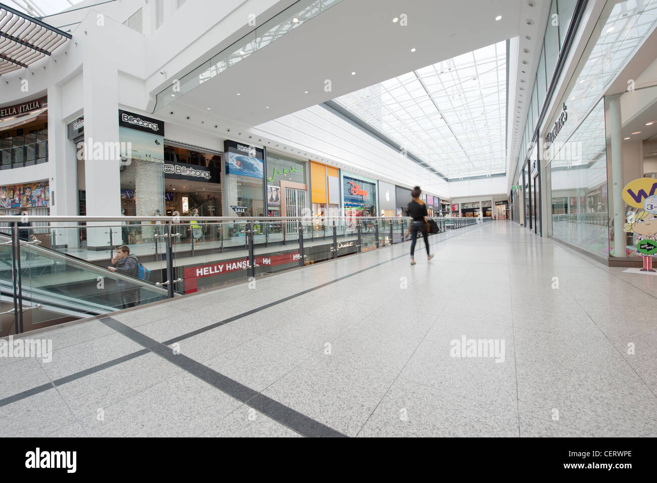 An internal shot of Manchester Arndale shopping centre mall located in the city centre. Stock Photo