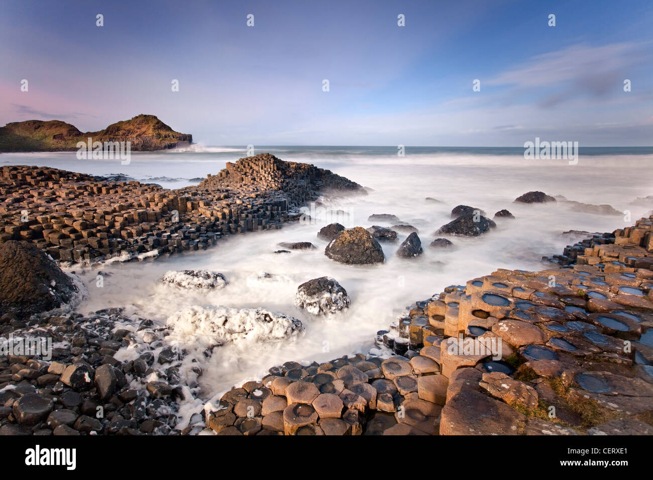 Giants Causeway captured at sunset. Northern Ireland. - Stock Image