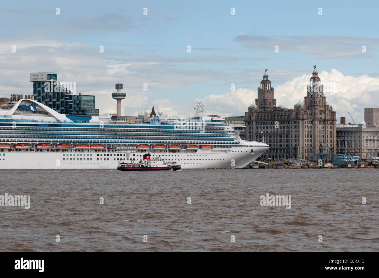 Cruise Liner berthed on the River Mersey in Liverpool Uk - Stock Image
