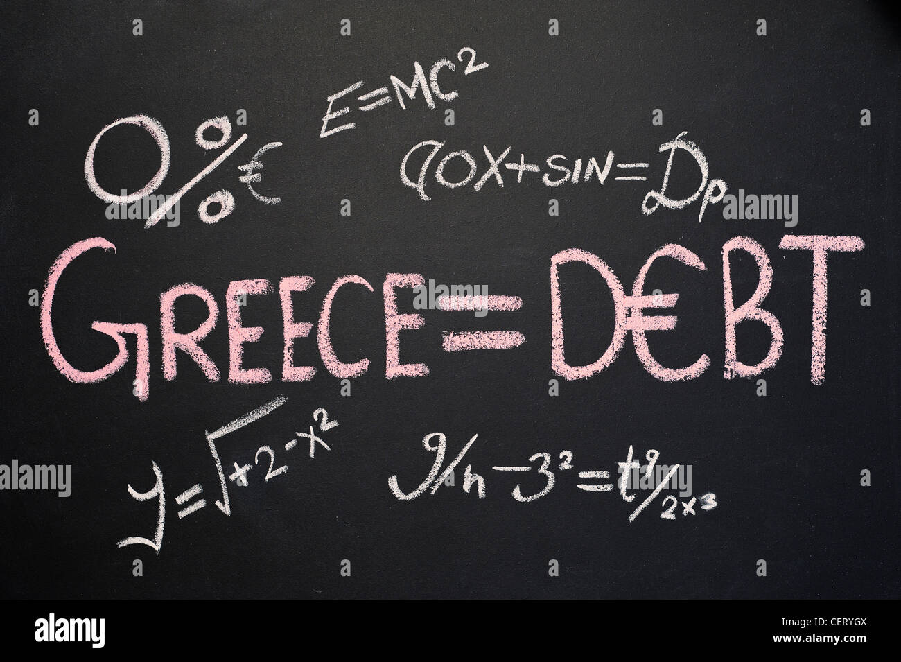 Blackboard with GREECE = DEBT written on it in chalk and various other equations - Stock Image