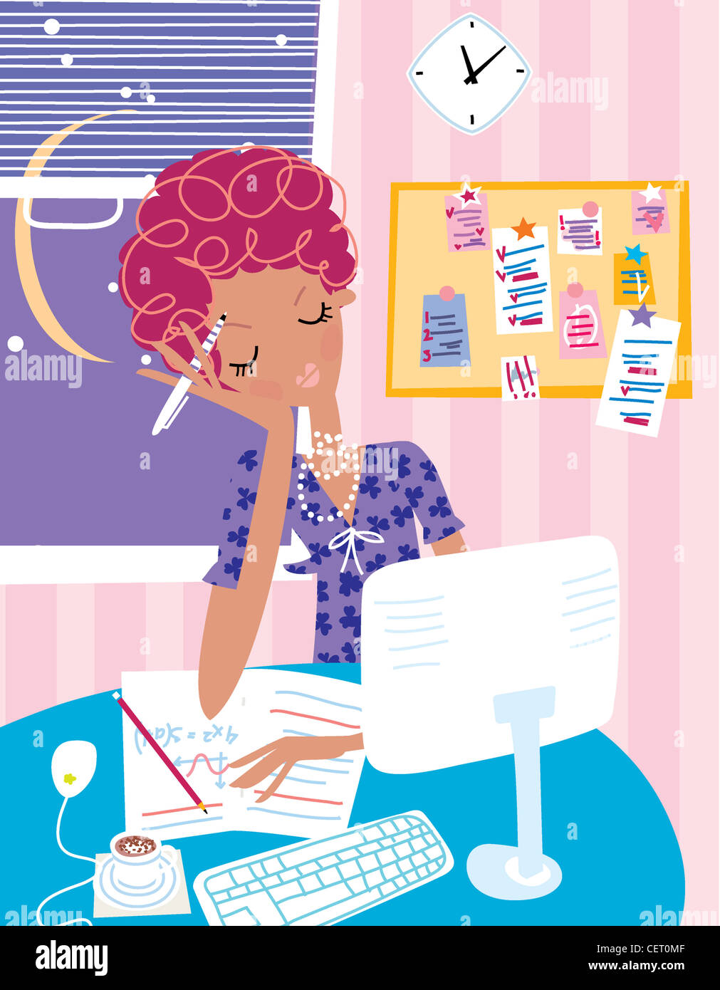 Female working late in an office - Stock Image
