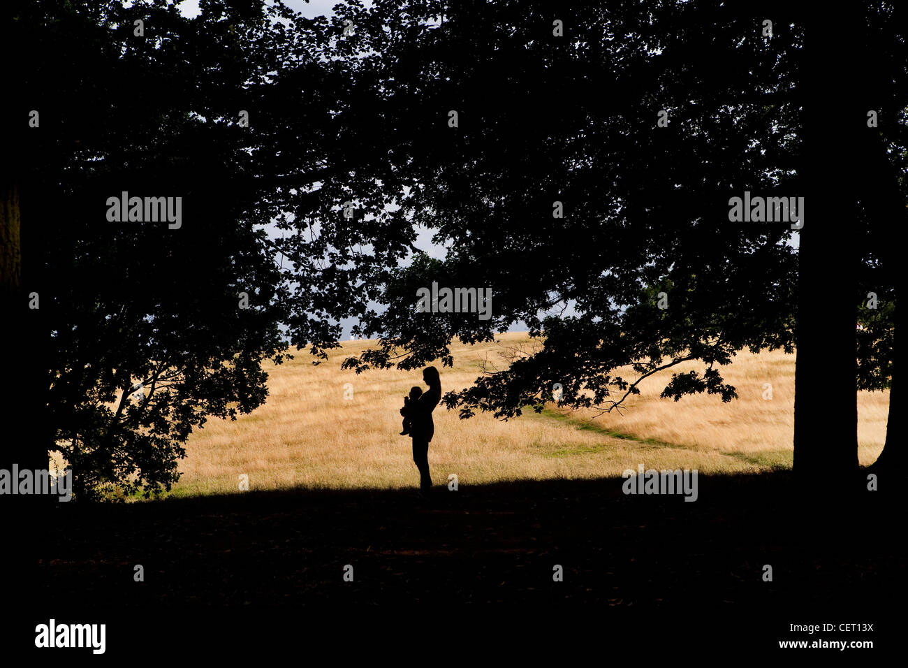 Mother & child in Silhouette on Hampstead Heath, London - Stock Image