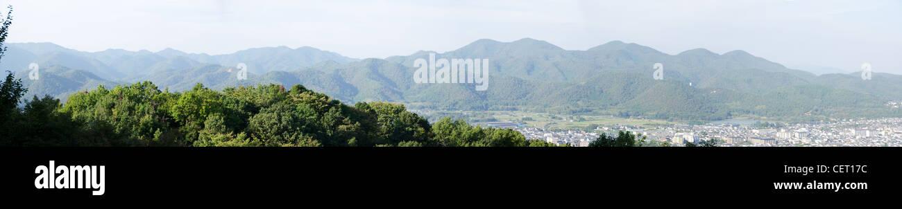 Panorama view of the mountains surrounding Arashiyama, Kyoto, Japan Stock Photo