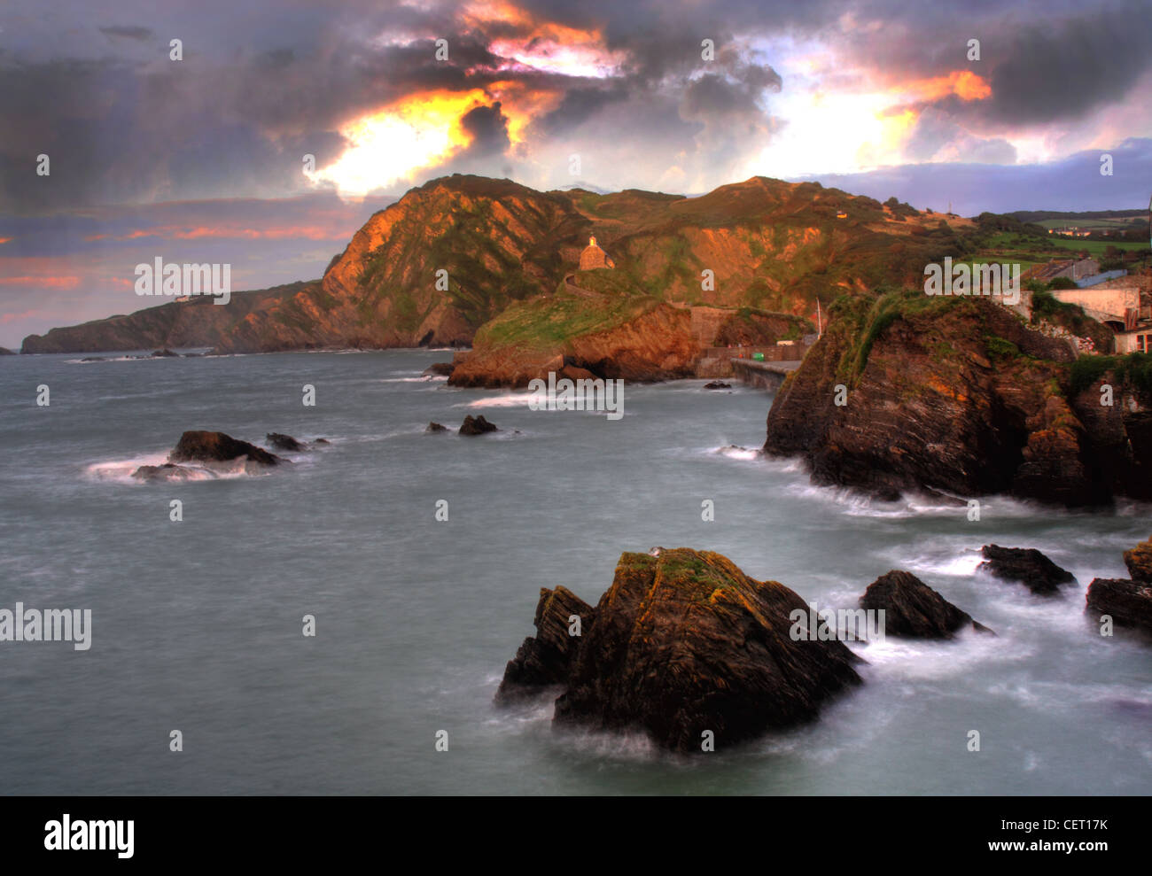 Sun set over Ilfracombe North Dorset, SW England, UK - Stock Image