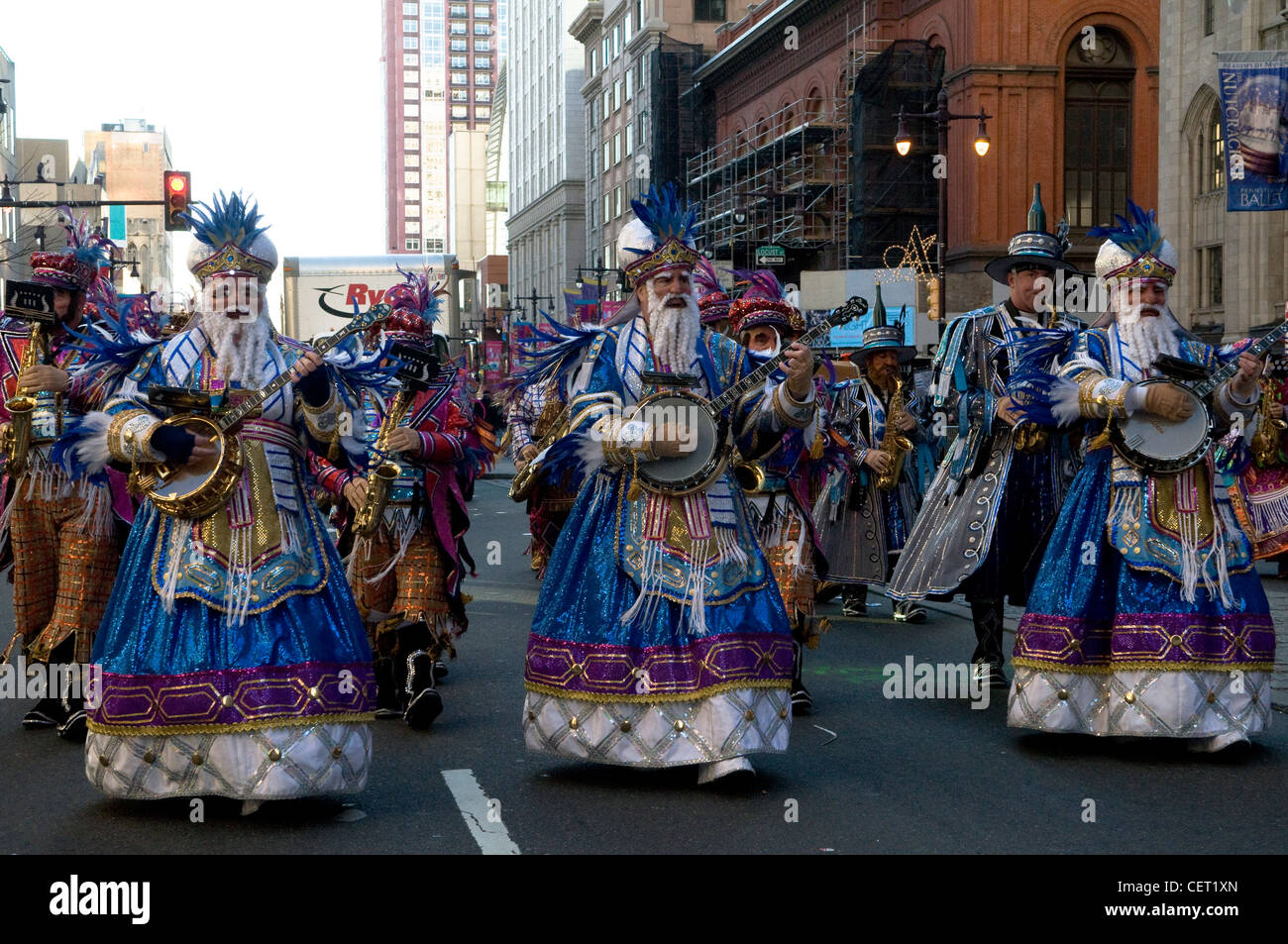 The colorful Mummers parade in Philadelphia. - Stock Image