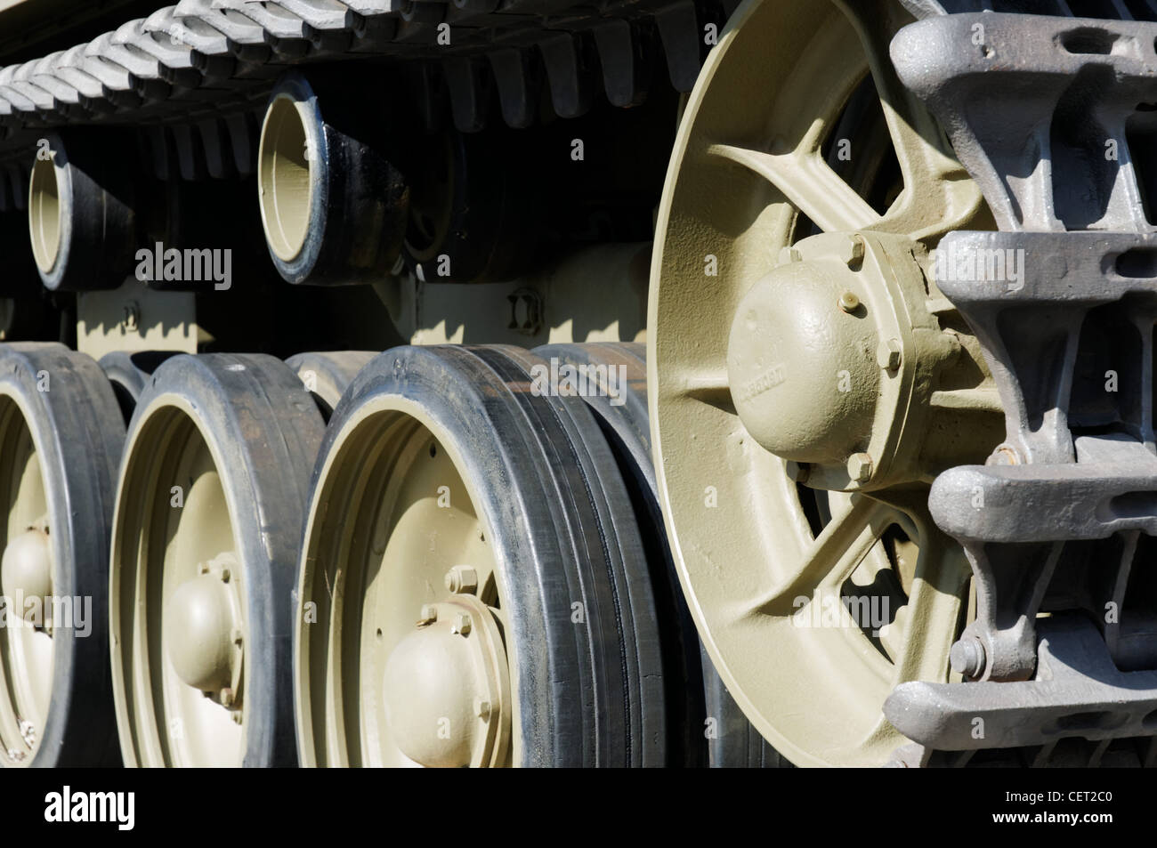 A close up of tank wheels and tracks - Stock Image