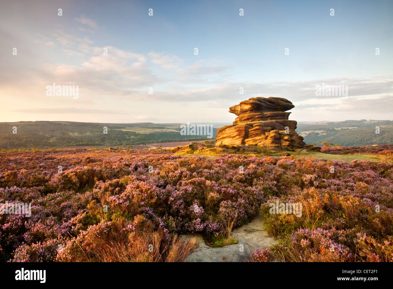 Mother Cap, a rocky outcrop on Owler Tor in the Peak District National Park. - Stock Image