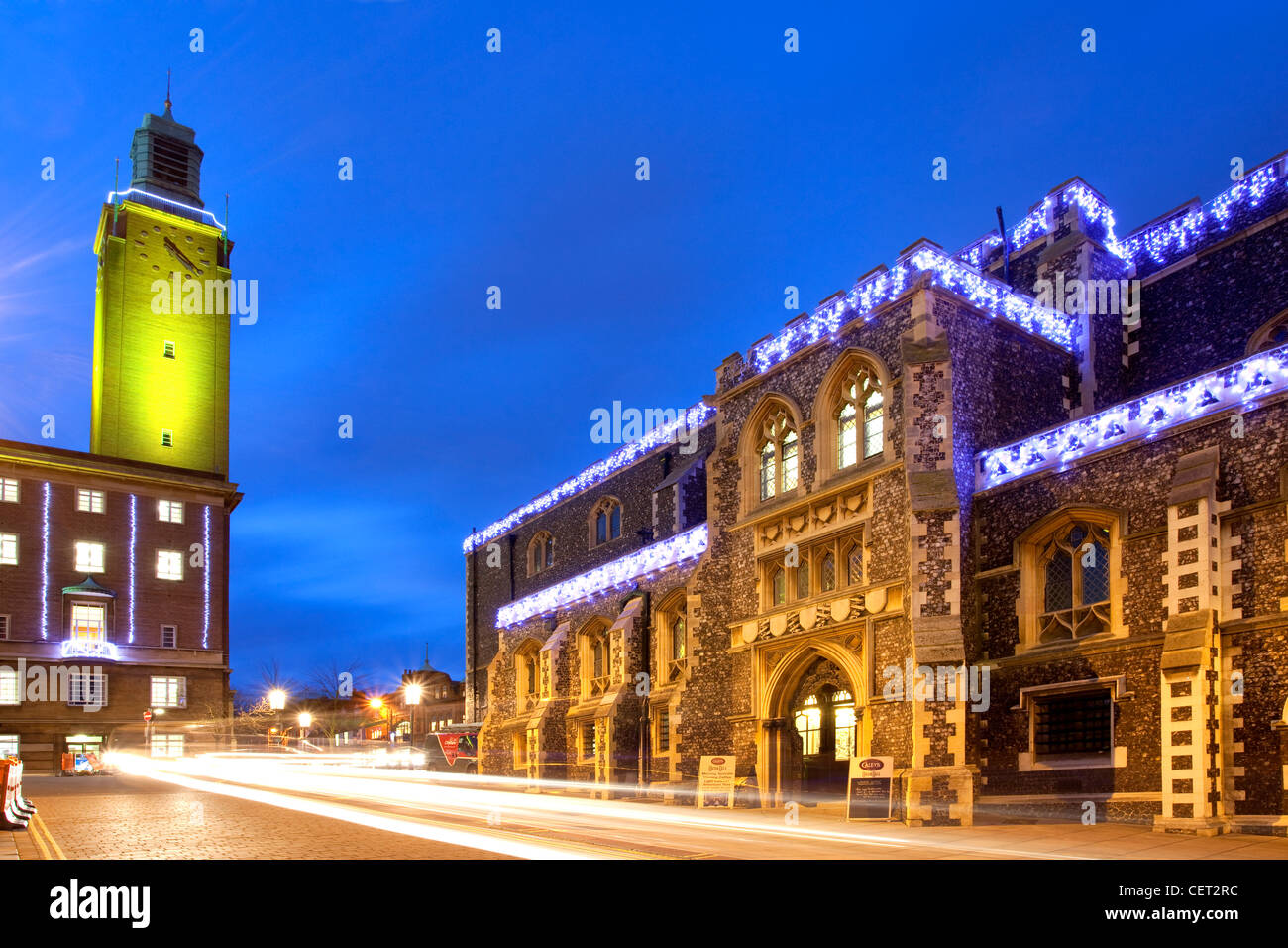 The Guildhall illuminated at Christmas in Norwich City centre. - Stock Image
