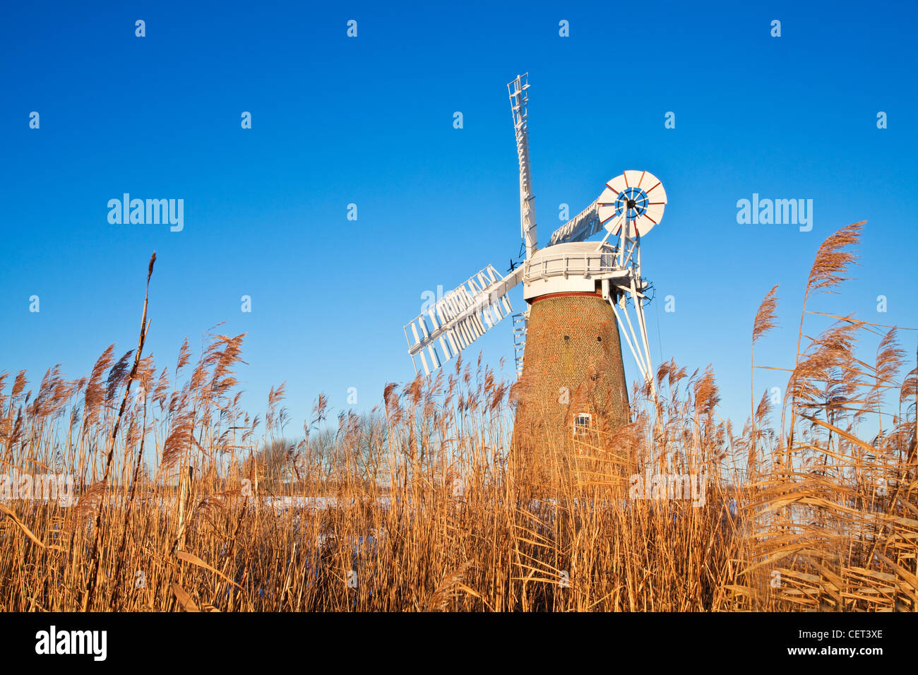 The newly restored Hardley Drainage Mill, originally built in 1874, on the Norfolk Broads. - Stock Image