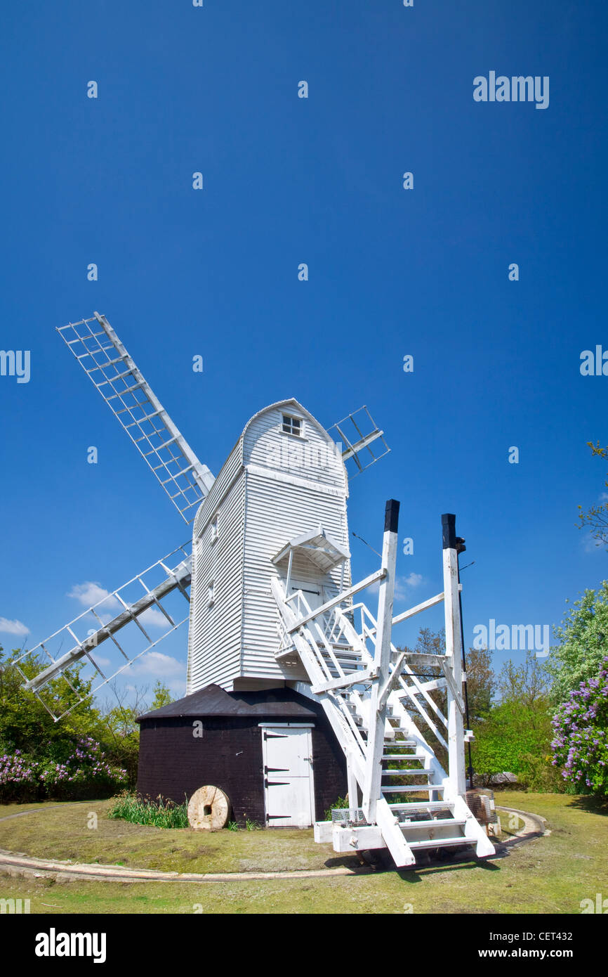 Holton Post Mill, an 18th century Grade II listed post mill that has been restored as a landmark in the village - Stock Image