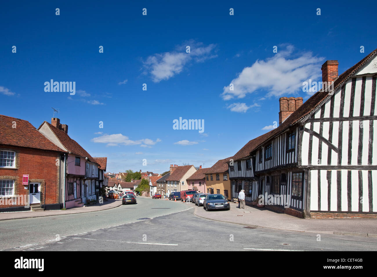 Half-timbered medieval buildings in the historic village of Lavenham. Lavenham gained great prosperity in the 15th - Stock Image