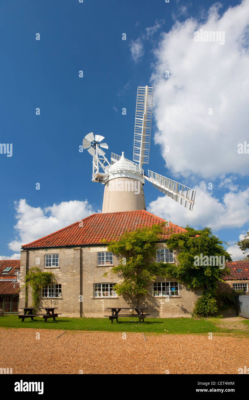 Denver Windmill, a Grade II listed tower mill and the last commercially working windmill in Norfolk. - Stock Image