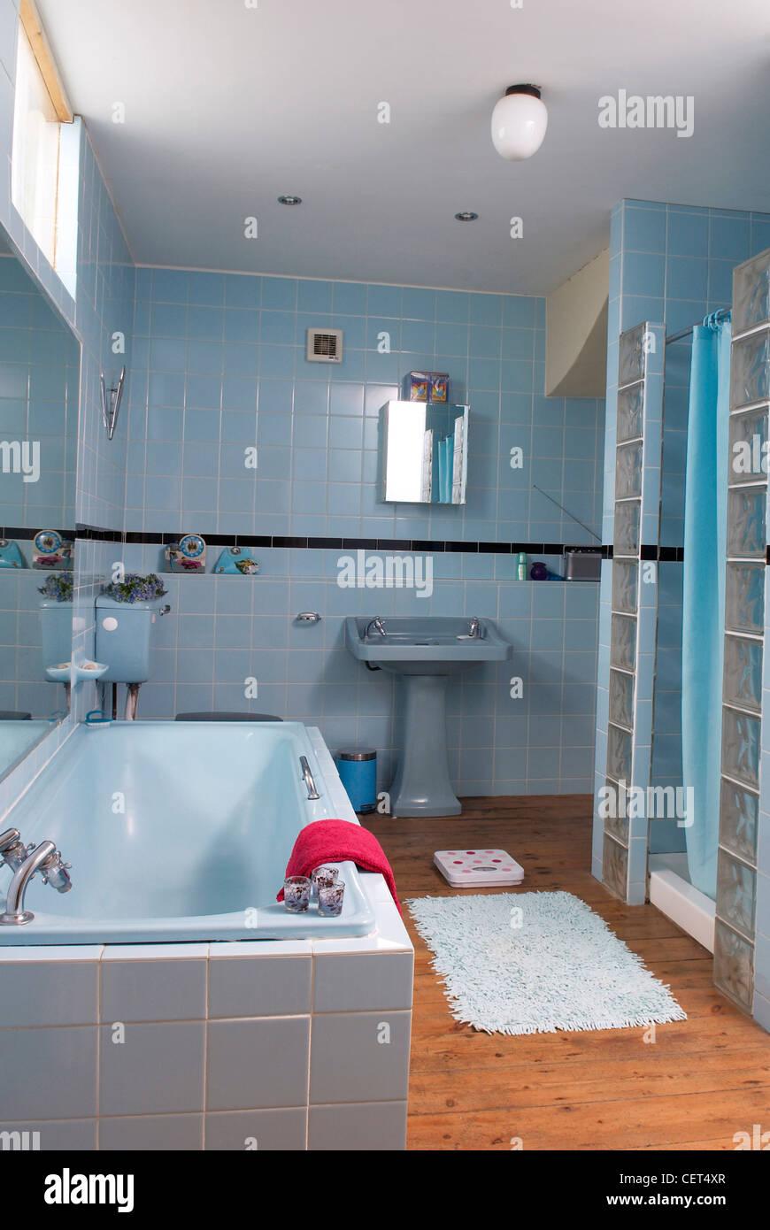 Brighton Interior Interiimage of bathroom blue tiled walls, blue ...