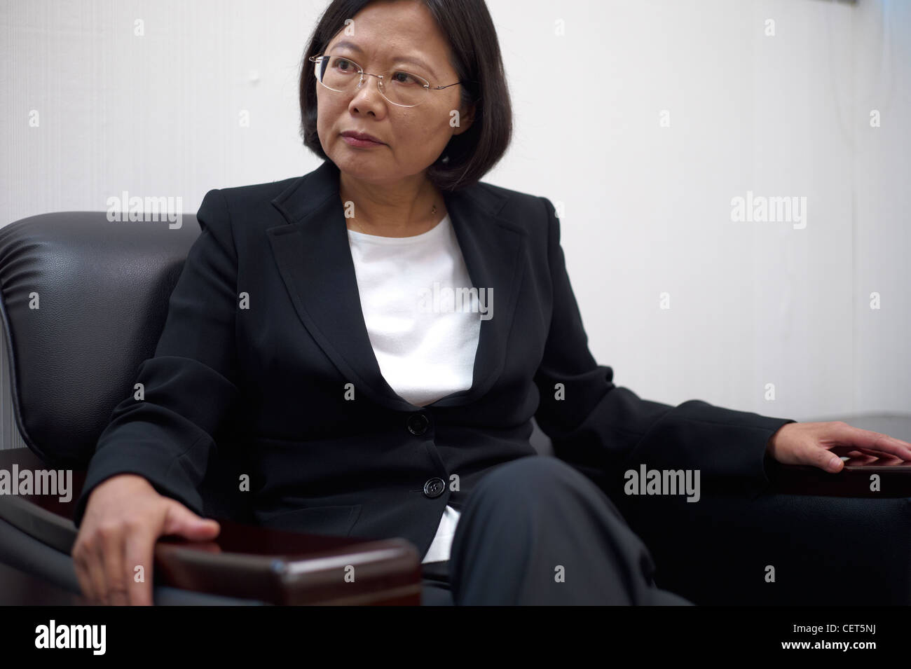 The first female Taiwanese presidential candidate Tsai Ing Wen gives an interview in her election office - Stock Image