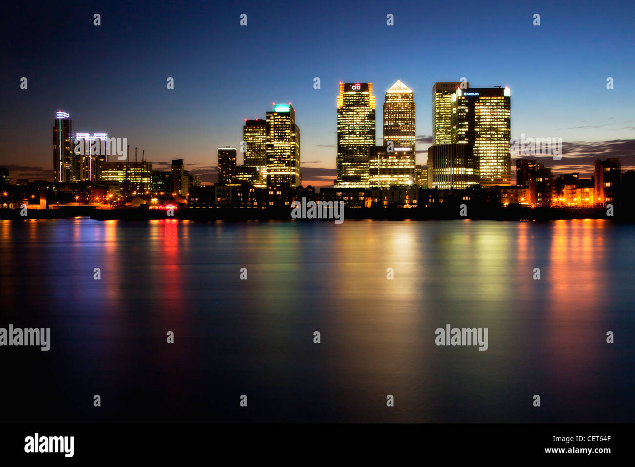 Canary Wharf at Night, beautiful rich colors of canary wharf at night, - Stock Image