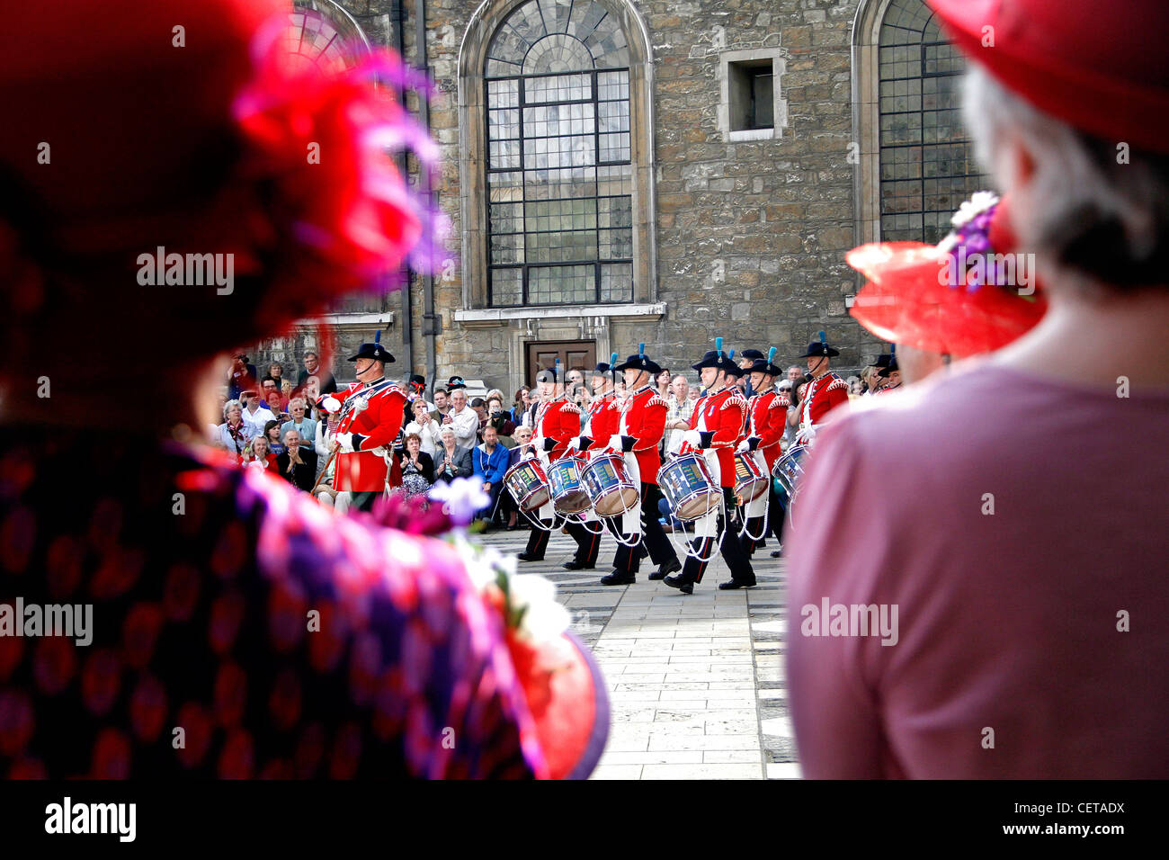 A marching band parading at the London Pearly Kings & Queens Society Costermongers Harvest Festival in Guildhall Stock Photo