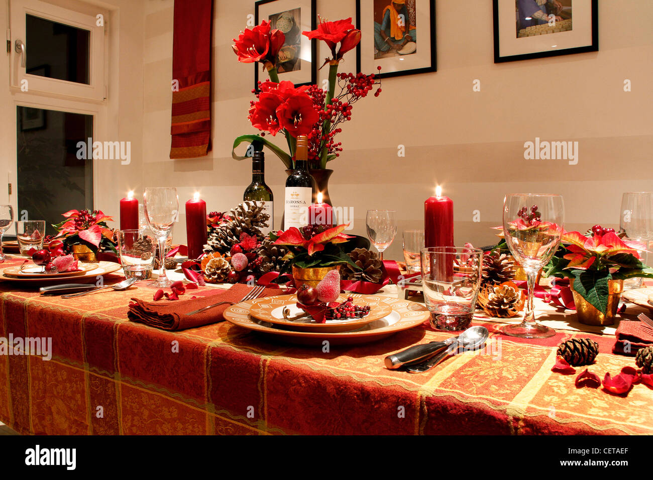 A table laid for Christmas dinner at home. - Stock Image