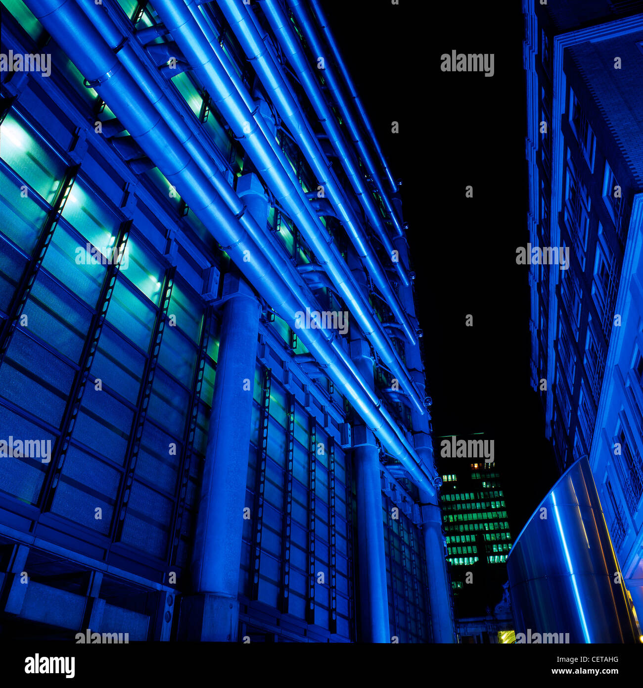 Lloyds Bank Building in Gresham Street at night. Lloyds Bank was one of the oldest banks in the UK, formed in 1765 - Stock Image