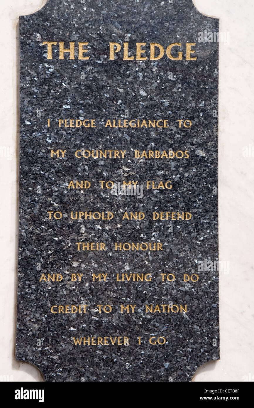 Caribbean Barbados Bridgetown, 'Pledge' on Careenage arch - Stock Image