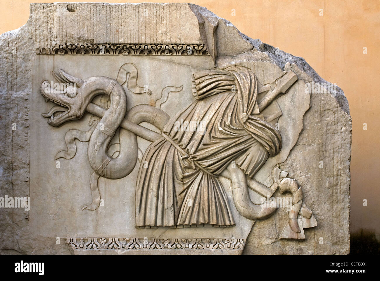 Plinth from Temple of Hadrian, courtyard of Palazzo dei Conservatori, Rome, Latium, Italy - Stock Image