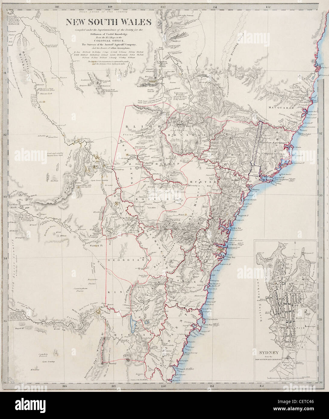 19th century map of new south wales and sydney australia dated 1853