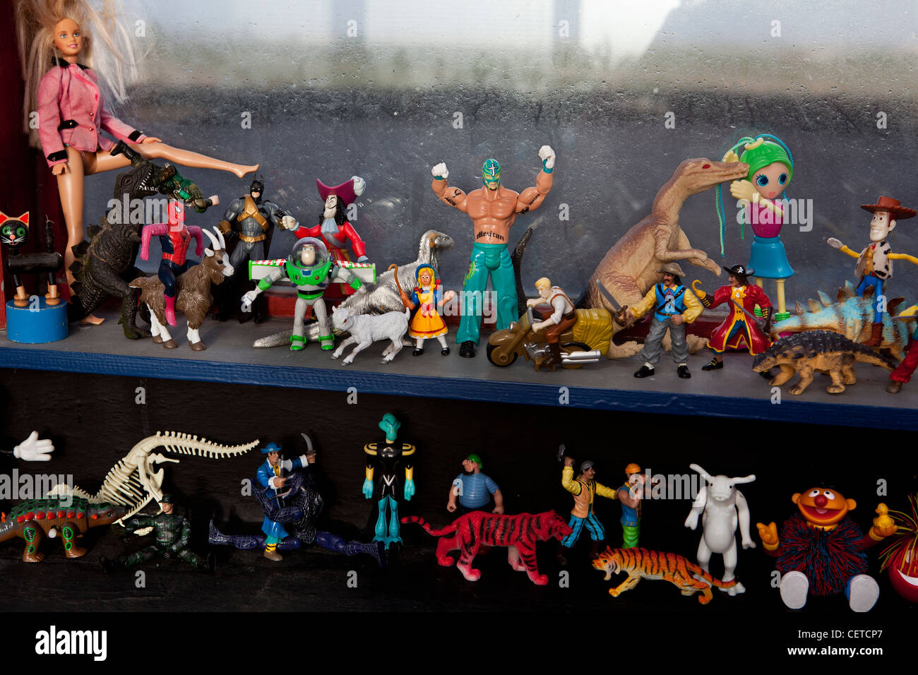 Collection of plastic model toys - Stock Image