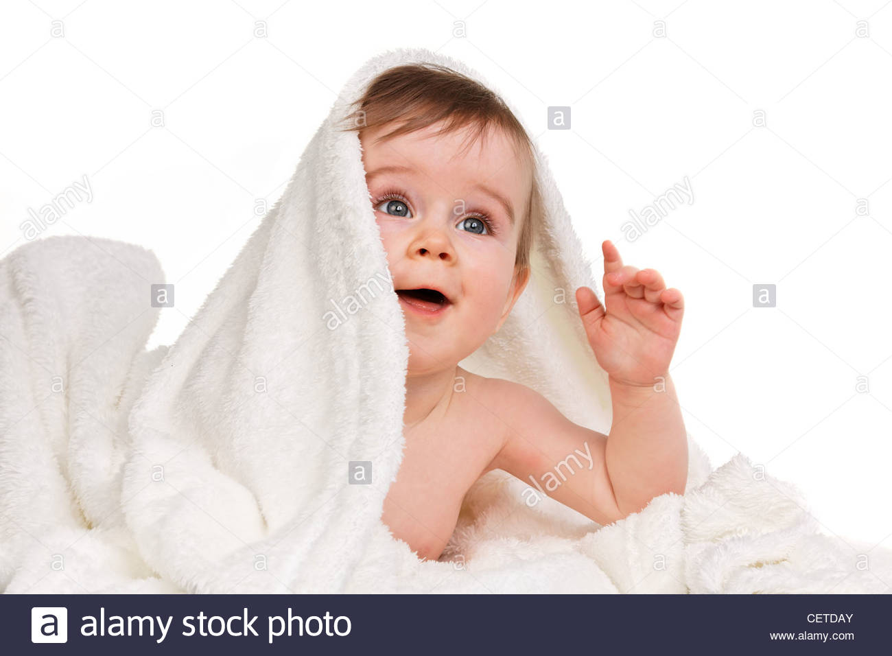 Small Astonished Child Baby Wrapped In Blanket Stock Photo 43563267