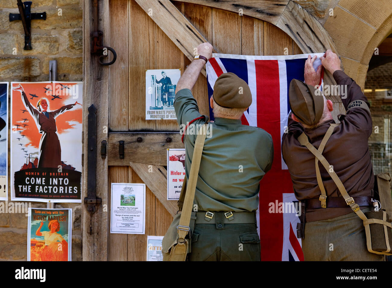World war 2 reenactment in the village hall, Hutton Le Hole - Stock Image