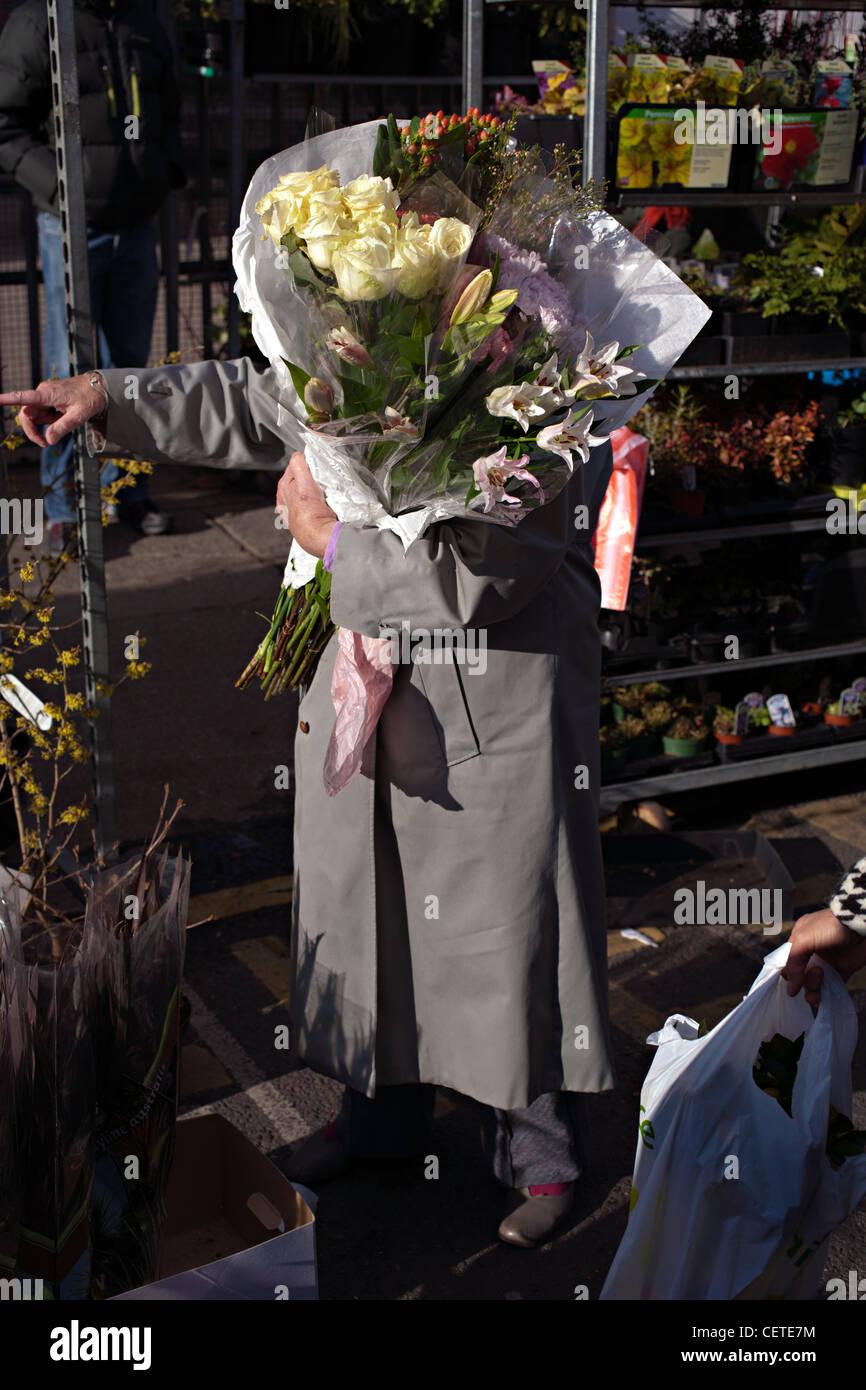 columbia road flower market east london - Stock Image