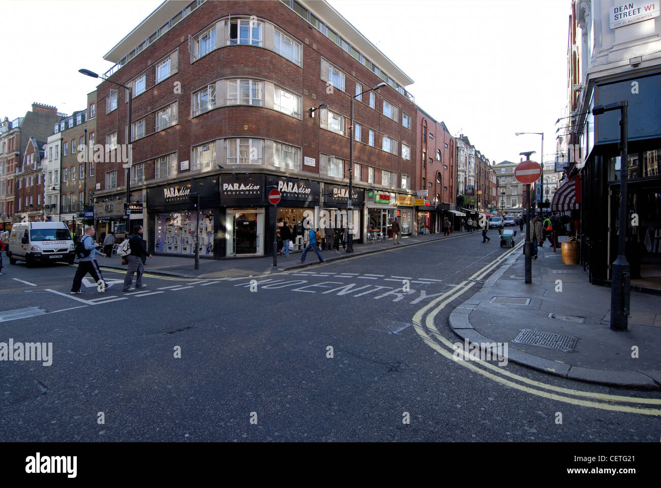Looking at Old Compton Street from the corner of Dean Street. Old Compton Street was named after  Henry Compton - Stock Image