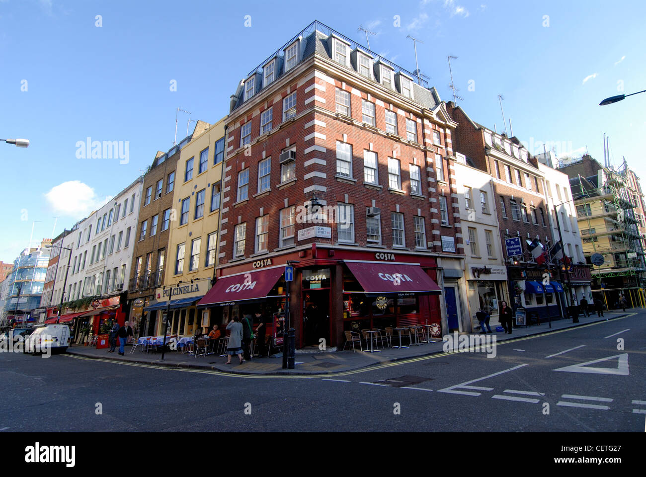 Looking at the corner of Old Compton Street and Dean Street. Old Compton Street was named after  Henry Compton who - Stock Image