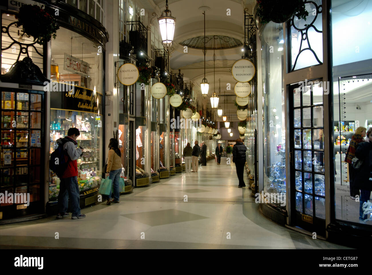 Princes Arcade. This Victorian shopping mall contains both modern and traditional shops. Stock Photo