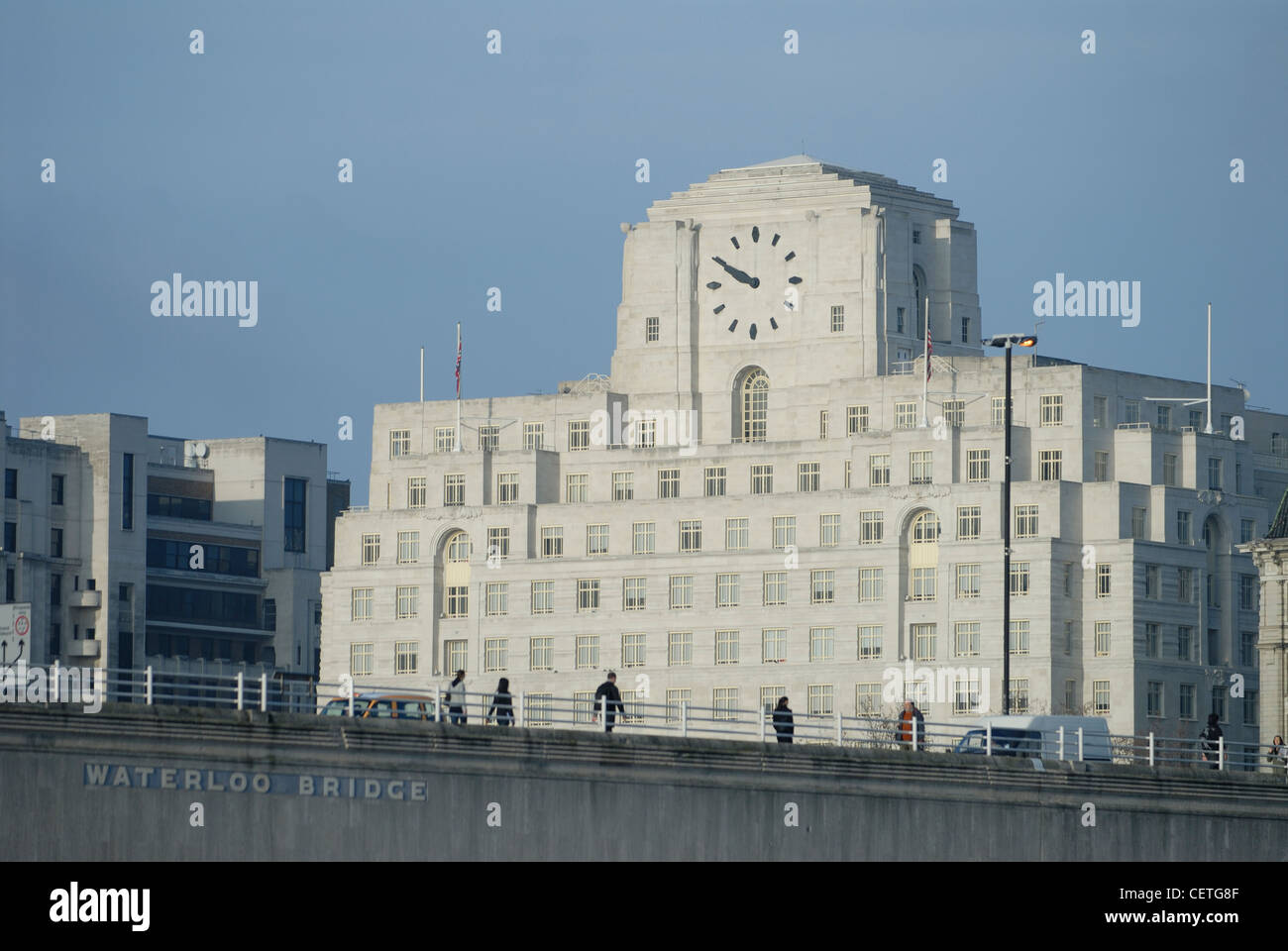 Shell Mex House beyond Waterloo Bridge. It was completed in 1930. Stock Photo
