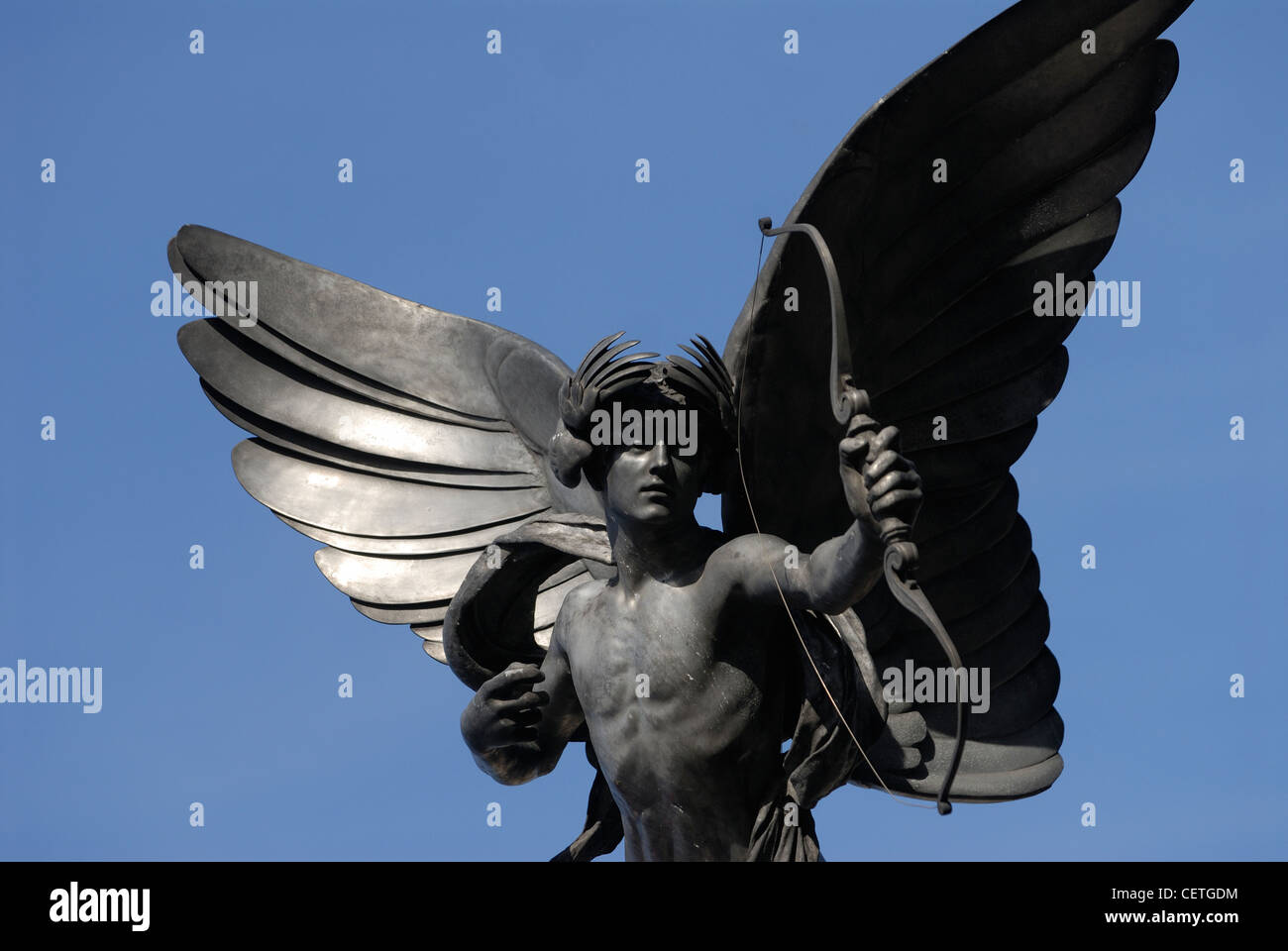 Detail of the statue of Eros. Unveiled in 1893 and originally called the Shaftesbury Monument, this aluminium statue - Stock Image