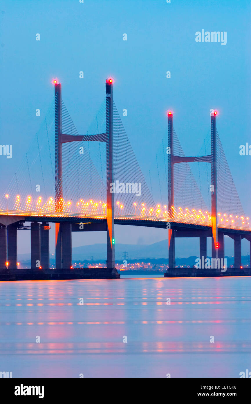 Second Severn Crossing at night. From 1966 to 1996, the original bridge carried the M4 motorway, but on completion - Stock Image