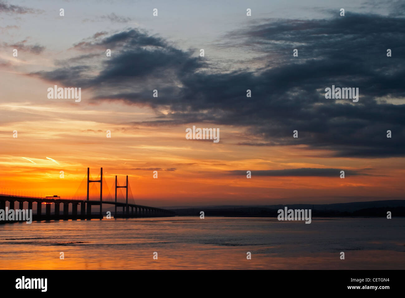 Second Severn Crossing at night. From 1966 to 1996, the original bridge carried the M4 motorway, but on completion Stock Photo