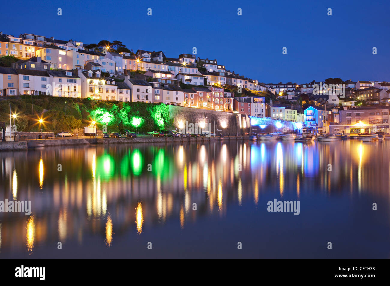 A view of the harbour at night. Brixham was the largest fishing port in the South-West, and at one time it was the - Stock Image