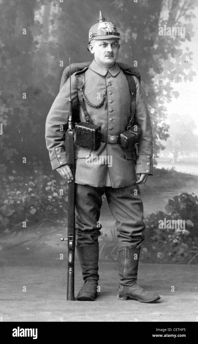 Germany  WW1 soldier in full uniform with rifle and helmet Stock