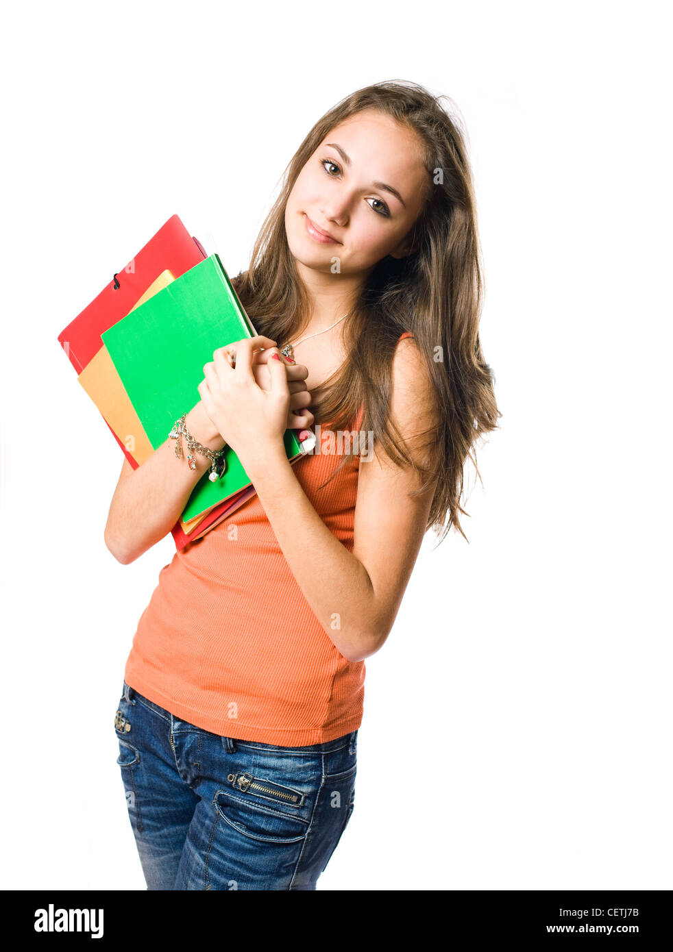 Half length portrait of a beautiful relaxed young student girl. - Stock Image