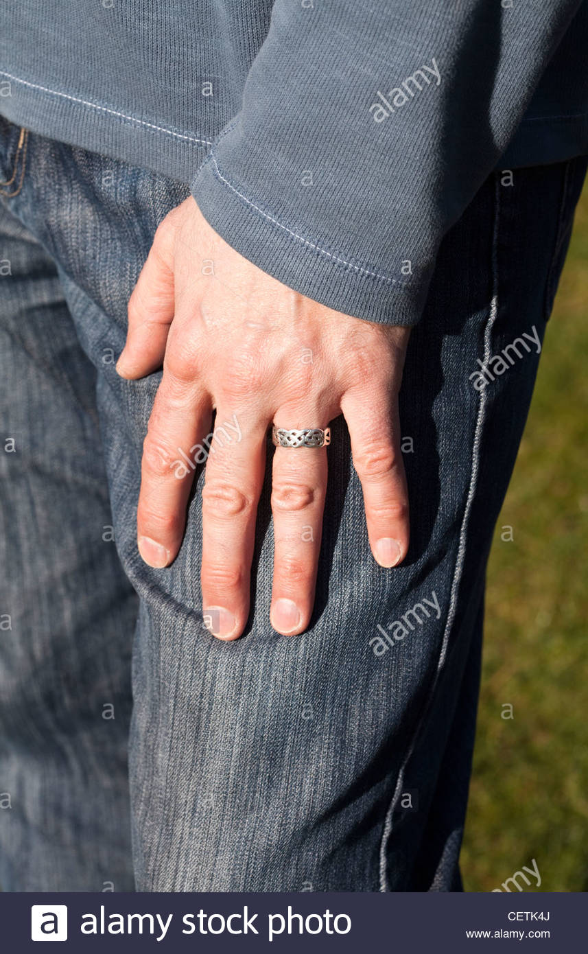 Man S Hand With Silver Wedding Ring On Finger Stock Photo 43567794