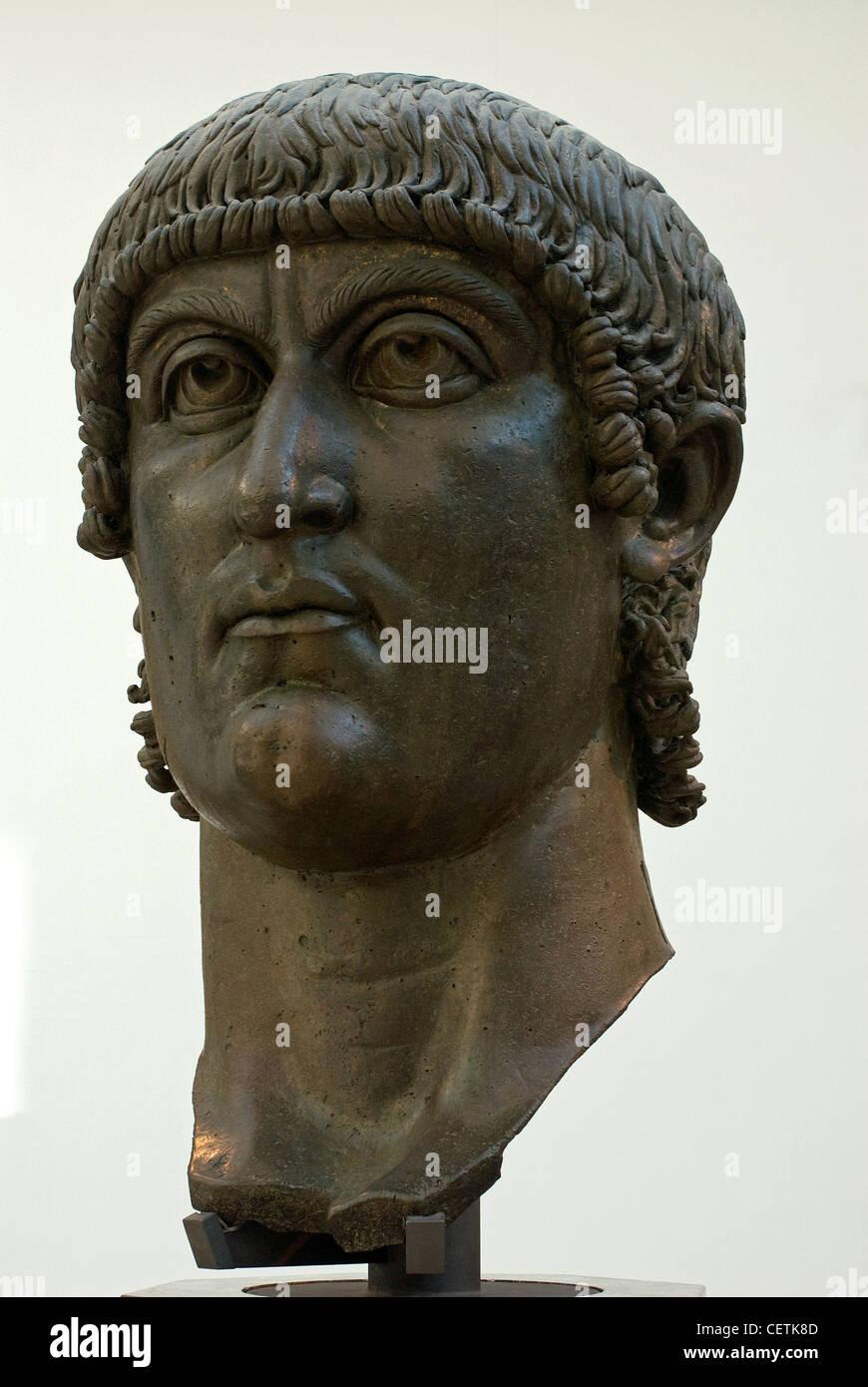 Head of Colossal Bronze Statue of Constantine, Marcus Aurelius Exedra, Palazzo dei Conservatori, Rome, Latium, Italy - Stock Image