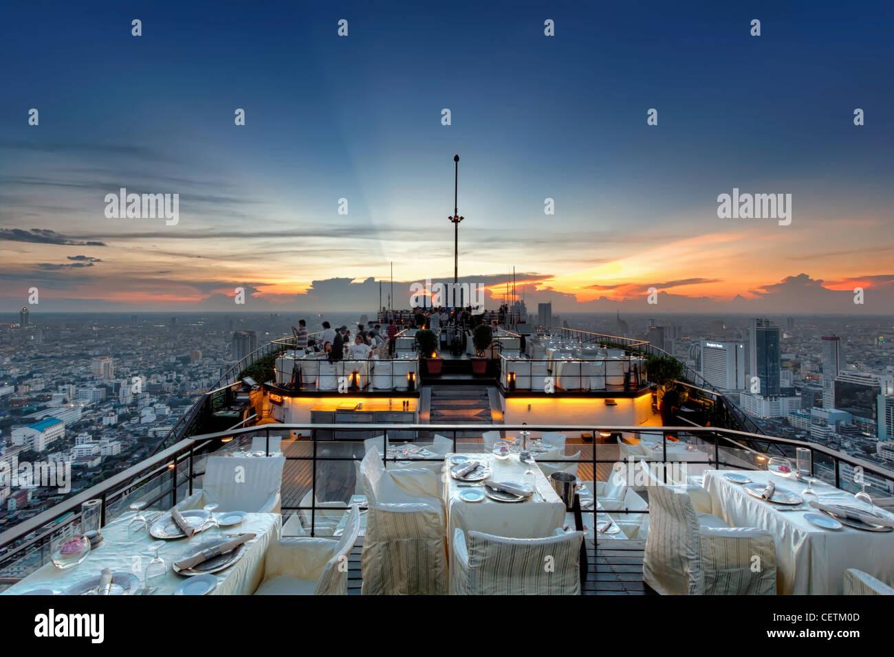 Spaceship Hovering Over Bangkok   Vertigo & Moon Bar at Banyan Tree Hotel   Bangkok - Stock Image