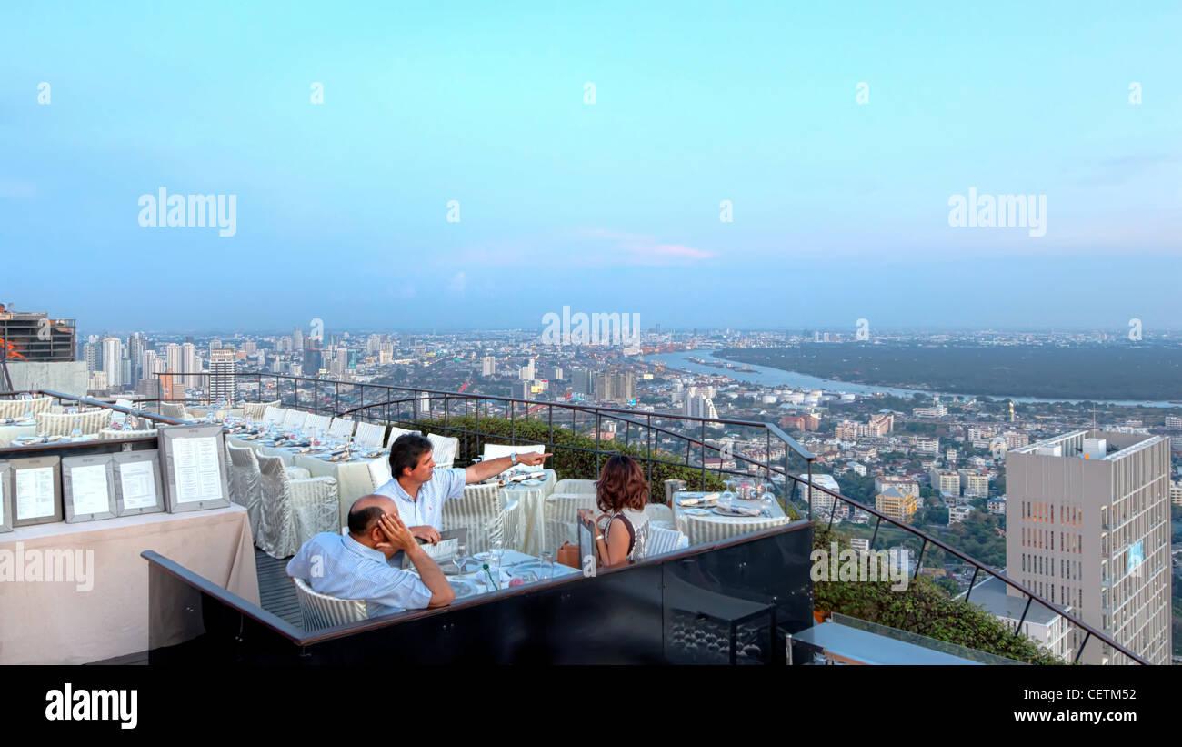 View from Vertigo & Moon Bar at Banyan Tree Hotel   Bangkok - Stock Image