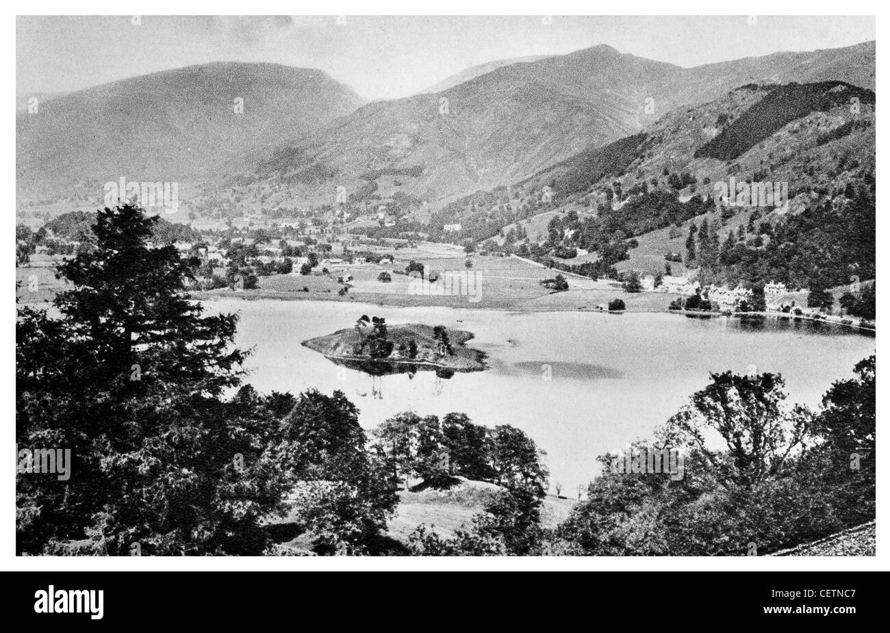 Grasmere Lake and Village - Stock Image