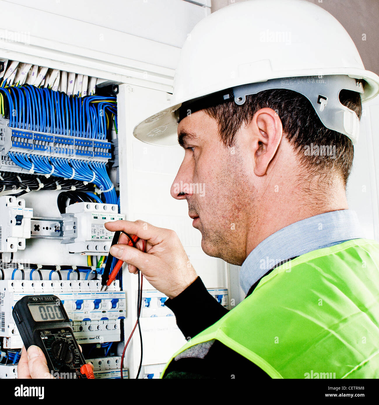 Safety Fuse Stock Photos Images Alamy Box Electrician Checking A Image