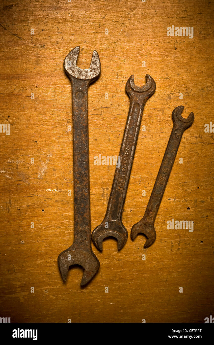 old rusty open end wrenches - Stock Image