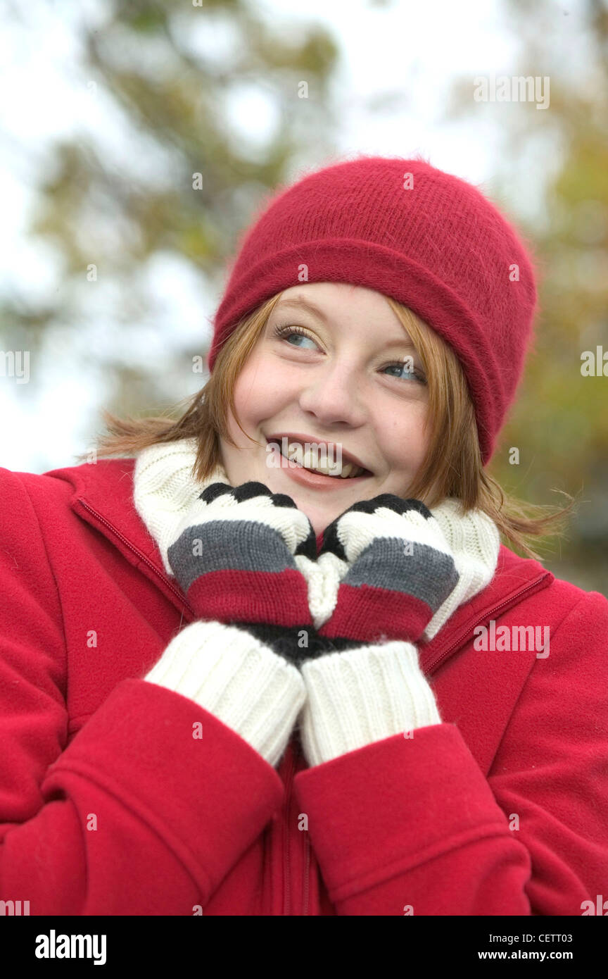 9924a5d84c0 Female shoulder length red hair wearing red wool hat