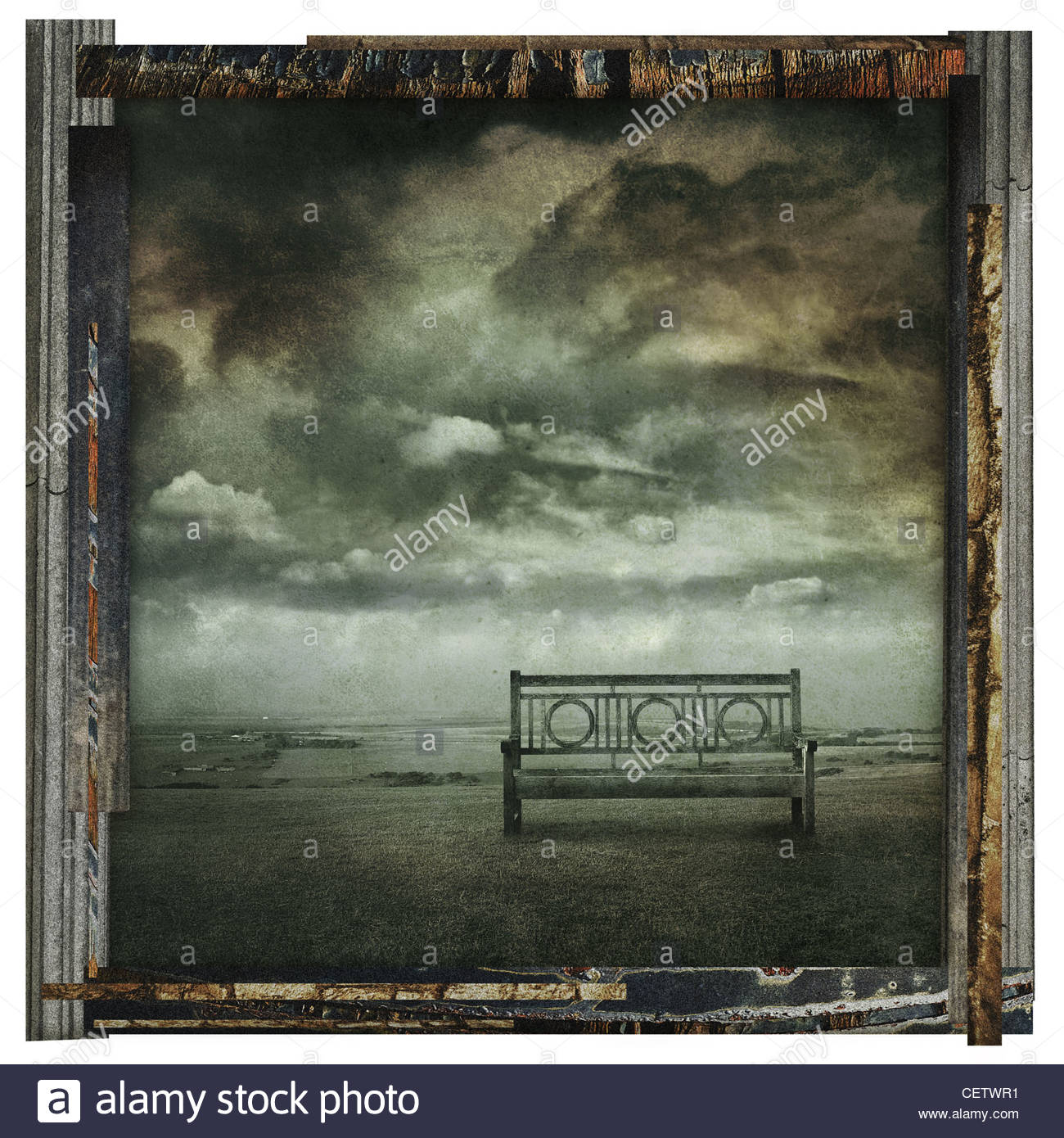 old bench photo print - Stock Image
