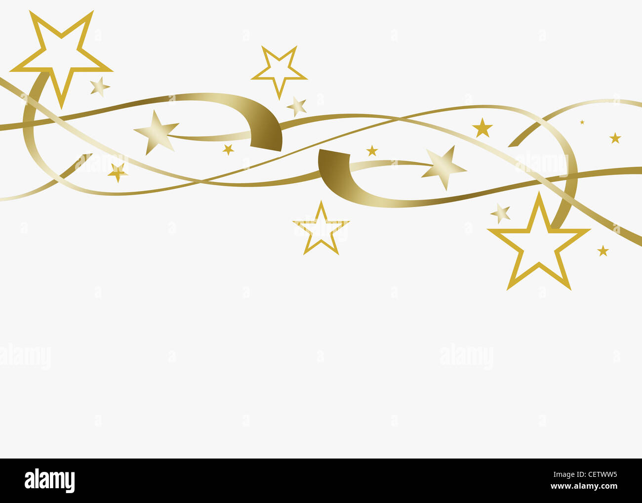 festive stars and streamers on white background stock photo