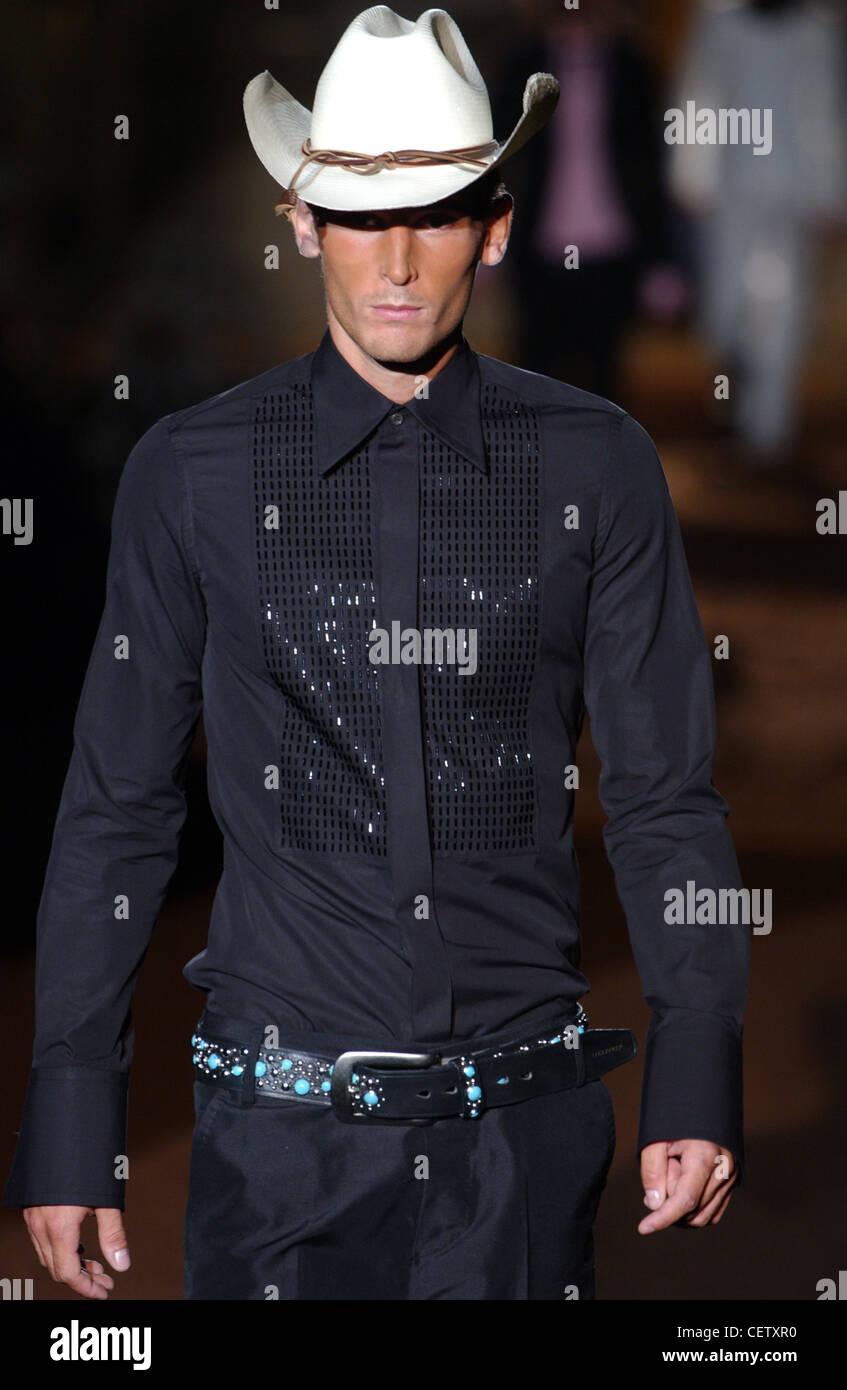 36fe348fdc0 DSquared Milan Menswear S S Cowboy style fashion Stock Photo ...